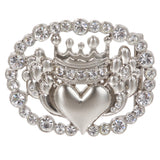 Perforated Rhinestone Crown & Heart Plaque Oval Buckle