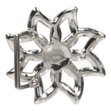 Cut Out Rhinestone Perforated Flower Belt Buckle