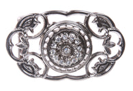 Perforated Oval Rhinestone Flower Flower Belt Buckle