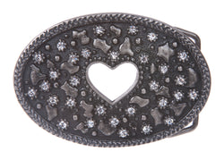 Heart Rhinestone Oval Belt Buckle