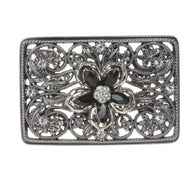 Rectangle Rhinestone Flower Cut-out Perforated Belt Buckle
