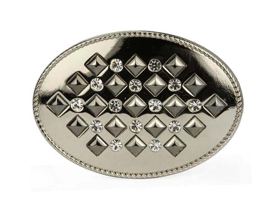 Oval Rhinestone Punk Rock Star Studded Belt Buckle