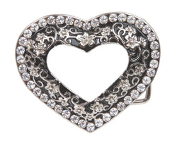 Ladies Rhinestone Flower Heart Cut-Out Belt Buckle