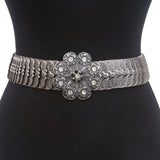 "Round Rhinestone 1 3/4"" Elastic Sequent Metal Stretch Belt"
