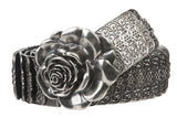 "1 3/4"" Rose Flower Elastic Sequent Metal Stretch Belt"