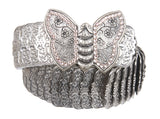 "1 3/4"" Rhinestone Butterfly Engraving Elastic Sequent Metal Stretch Belt"