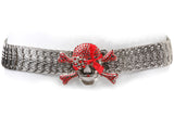 "Skull & Crossbones Rhinestone 1 3/4"" Elastic Sequent Metal Stretch Belt"