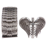 Western Rhinestone Heart and Winged Cross Elastic Sequent Metal Stretch Belt