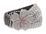 "1 3/4"" Rhinestone Flower Elastic Sequent Metal Stretch Belt"