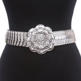 "1 3/4"" Engraved Round Flower Elastic Sequent Metal Stretch Belt"