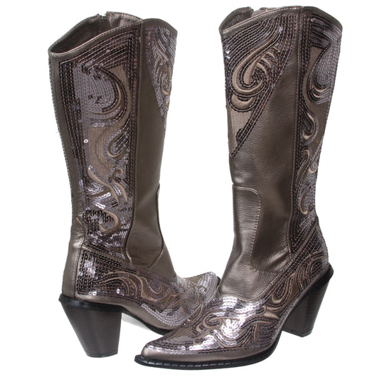JOHN FASHION Western Mid-calf Sequin Beaded Embroidered Cowgirl Boots