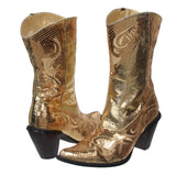 "JOHN FASHION 10"" Western Mid-calf Sequin Beaded Embroidered Cowgirl Boots"