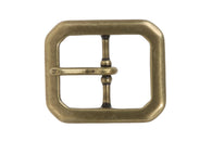 1 1/4 Inch Center Bar Single Prong Solid Brass Octagon Rectangular Belt Buckle