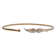Women's Gold Metal Skinny Elastic Belt With Angel Wings buckling