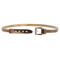 Women's Gold Metal Elastic Belt With Square Single Prong Buckling