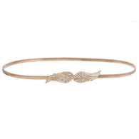 Gold Metal Skinny Elastic Belt With Angel Wings Buckling For Women