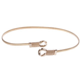Women's Knot Buckle Skinny Elastic Chain Punk Wedding Belt Piece Stretch Gold Waistband