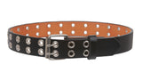 "Kids 1"" Snap On Two Row Grommets Leather Belt"