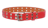 "Kids 1"" Snap On Two Row Grommets Leather Jean Belt"