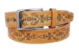 1 5/16'' Floral Embossed Stitching Vintage Leather Belt