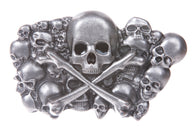 Pewter Skulls with Cross Bone Belt Buckle