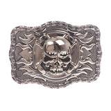 Rectangular Skull with flame Cross Buckle