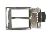 "Men's 1 1/4"" (34 mm) Stitching Feather Edged Plain Leather Dress Belt with Nickel Free Clamp Buckle"