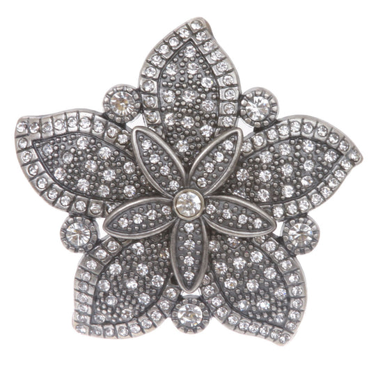 Nickel Free Double Layer Rhinestone Floral Belt Buckle