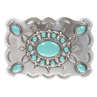 Rectangular Western Belt Buckle with Turquoise Stone
