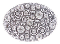 Clear Rhinestone Women's Bling Flower Belt Buckle