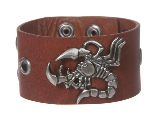 Scorpion and Grommet Leather Wrist Band
