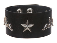 Trucker Girl and Star Studded Leather Wrist Band