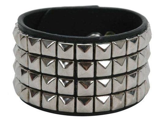 4 Row Punk Rock Star Studded Leather Wrist Band
