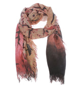 Womens Brid Print Mix Colored Light Weight Wide Shawl Wrap Cotton Scarf