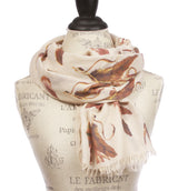 Womens Feather Pattern Light Weight Wide Shawl Wrap Cotton Scarf