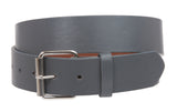 "1 1/2"" (38mm) Snap On Plain Leather Jean Belt With Roller Buckle"