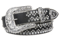 Snap On Western Cowgirl Rhinestone Studded Metallic Leather Belt