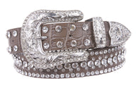 Snap On Western Faux Crocodile Print Rhinestone Leather Belt