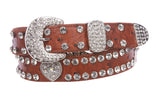 "Kids 1 1/16"" (27 mm) Ostrich Print Heart Ornaments Skinny Rhinestone Belt"
