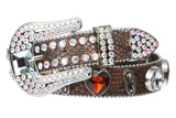 Snap On Western Cowgirl Snake Texture Crystal Conchos Leather Belt