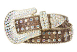 Snap On Western Cowgirl Alligator Rhinestone Cross Leather Belt