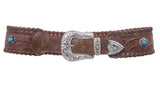 "2 3/4"" Wide Western Contoured Laced Alligator Cowgirl Rhinestone Turguoise Leather Belt"