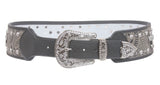 Womens 2 3/4'' Wide Western High Waist Rhinestone Cross Ornaments Contour Belt