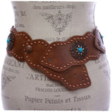 "3"" (75 mm) Wide Link Turquoise Studded Leather Belt"