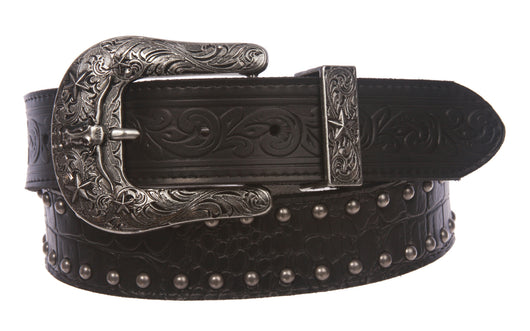 Snap On Western Crocodile Print Stitching-Edged Studded Leather Belt