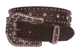 Snap On Western Faux Crocodile Embossed Cross Rhinestone Studded Leather Belt