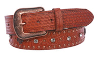 Western Faux Crocodile Print Embossed Cross Rhinestone Studded Leather Belt