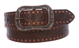 "Snap On 1 1/2"" Soft Hand Vintage Cowhide Leather Floral Embossed Rivet Studded Casual Belt"