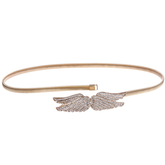 Women's Rhinestone Angle Wings Skinny Elastic Chain Punk Wedding Belt Piece Stretch Waistband