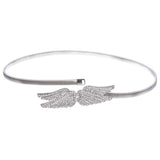Women's Rhinestone Angel Wings Skinny Elastic Chain Punk Wedding Belt Piece Stretch Waistband